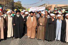 حضور روحانيون و طلاب يزد در راهپيمايي ۱۳ آبان يزد