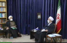 گزارش تصویری از دیدار مدیر حوزه علمیه استان یزد با آیت الله اعرافی